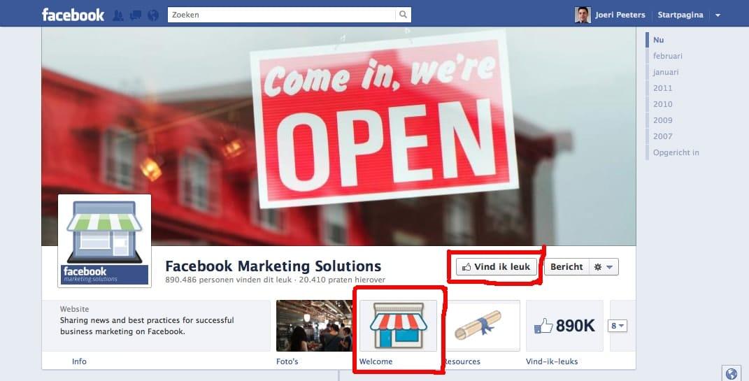Facebook timeline zakelijk